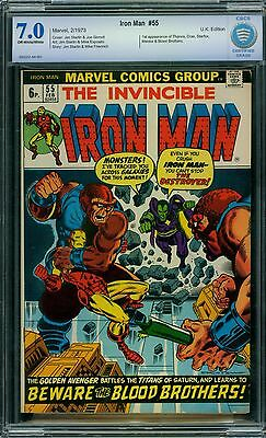 Iron Man 55 CBCS 7.0 - OW/W Pages - 1st Thanos - UK Edition