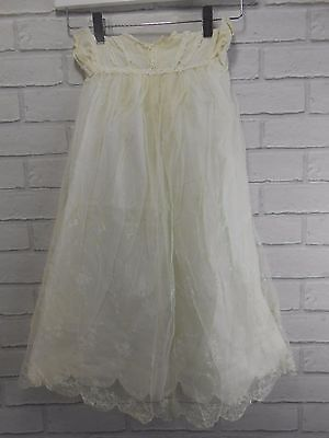 Vintage 1940s 1950s Girls Boys Delicate White Lace Retro Christening Dress Gown