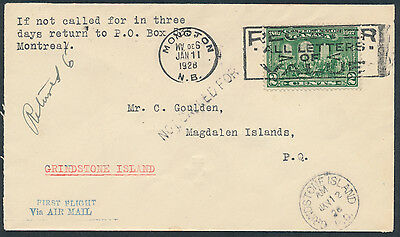 1928 AAMC #2801 Moncton to Grindstone Island First Flight and Return Jan 17