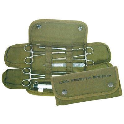 NEW - Military 16pc Minor Surgical Kit Stainless Steel Instruments & Sutures  OD