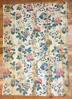 Vintage 1930's French Linen Floral Printed Fabric (2038)