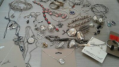 236g sterling silver lot jewelry. pre owned condition. stones, beads, vintage+
