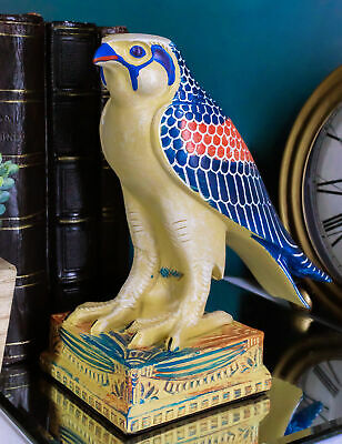 "Egyptian God Horus Falcon On Pedestal Statue 6.25""Tall Bird Form Of Heru Deity"