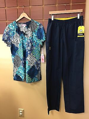 NEW Navy Blue Print Scrubs Set With Koi Large Top & Wink Large Tall Pants NWT
