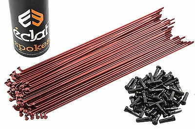 50 x ECLAT STAINLESS STEEL 192mm 14 Gauge RED SPOKES WITH BLACK NIPPLES FOR BMX