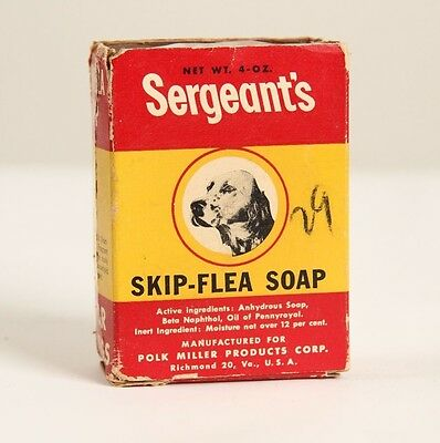 Vintage Sergeants Skip Flea Soap Dog Box Pet Old Advertising Cardboard