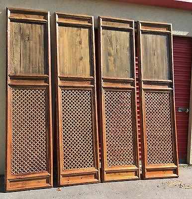 1800 Chinese Antique Asian Qing Carved Wood Lattice 4 Doors Screen Architectural