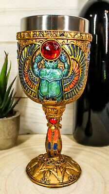 Egyptian Beetle Scarab Amulet Messenger Of Eternity 6oz Wine Goblet Chalice Cup