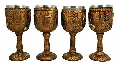 Egyptian Deities Horus Hathor Seth & Osiris 6oz Wine Goblet Chalice Cup Set of 4