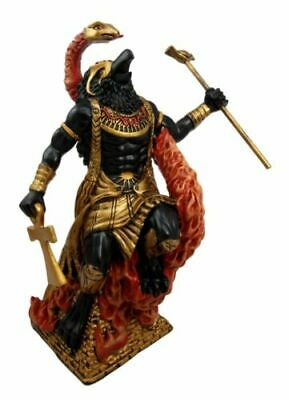 "Egyptian Mythology Horus Ra With Fire Cobra Uraeus God of War & Sky Figurine 9""H"