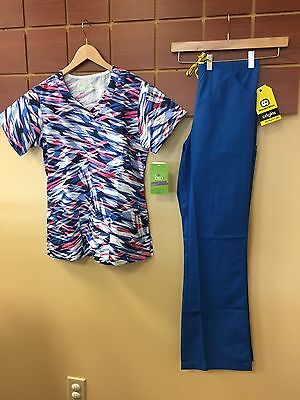 NEW Royal Blue Print Scrubs Set With BIO Small Top & Wink Small Tall Pants NWT