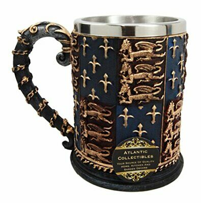 """Large Medieval Coat Of Arms Lion Heart Beer Stein Tankard Coffee Cup Mug 5.25""""H"""
