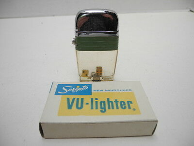 Vintage Scripto Vu-Lighter with Dice-Green Band with Box Made in USA