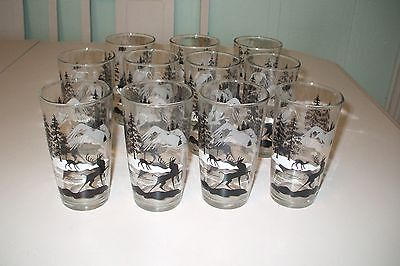 10 Vintage Glass Tumblers Drinking Glasses Deer Mountain Trees Cabin Cottage