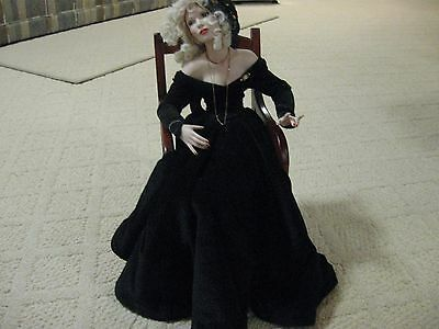 Exquisite Porcelain Sitting Doll Awesome Face & Hands Beautifully Dressed