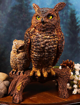 Transient Wisdom Of The Forest Great Horned Owl & Owlet Decorative Figurine