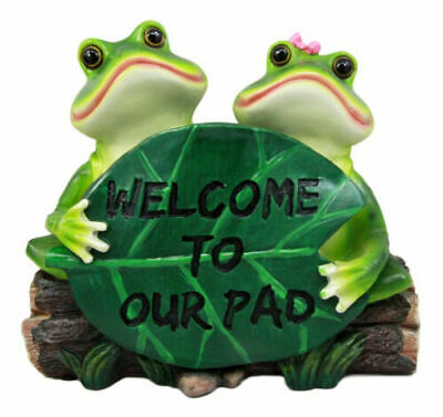 "Rainforest Frog Couple Lovers Holding Welcome Sign Lily Pad Decor Figurine 9""L"
