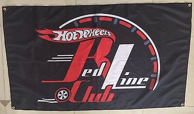 Hot Wheels Red Line Club Flag Banner Poster 3' X 5'