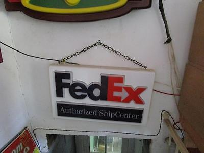 "Vintage 17"" x 28"" Lighted FEDEX AUTHORIZED SHIP CENTER SIGN"