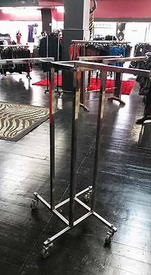 EX Shop USED Stainless Steel with Wheels 4 WAY CLOTHING RACK Stand