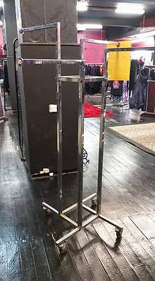EX Shop USED Stainless Steel with Wheels 4 WAY CLOTHING RACK Stand !!!!