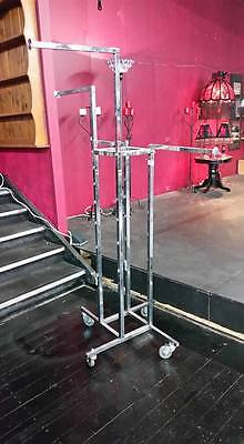 EX Shop USED Stainless Steel with Wheels 4 WAY CLOTHING RACK Stand !!