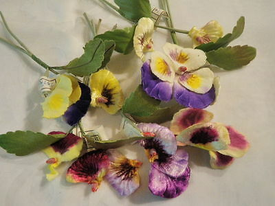 "Vtg Millinery Flower Collection 3"" Velvet Pansy Viola All Damaged Colors++ H1544"