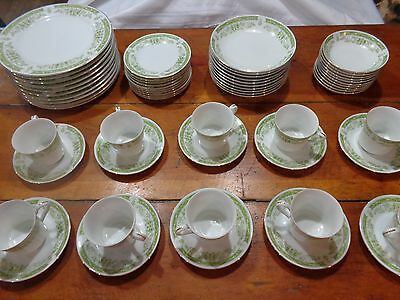 Vintage Fine China Noblesse Japan service for 10 green white dish set dishes