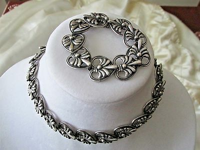 Mexican Sterling Silver Margo de Taxco Necklace and Bracelet Set HeavyVintage