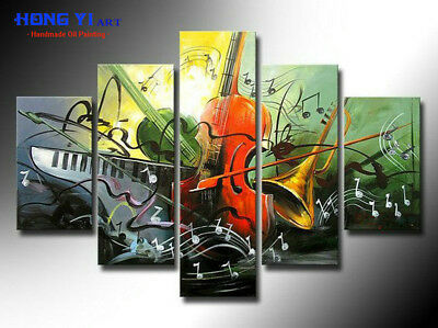 Large 5 Panel Music Abstract Canvas OIL Painting Wall Art Modern Home Decor mus6