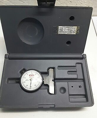 CDI EDP 60412J GSA. Grads .0005 Knife Edge Dial Indicator Depth Gage W/Case