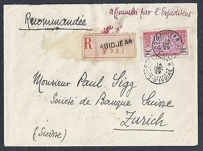 1929 Ivory Coast Registered Cover - Scott #90 - 10fr Single Franking
