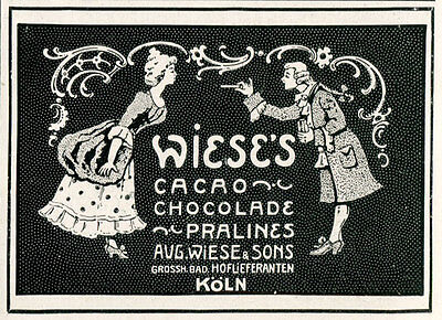 1913 Ad Print Wiese's Cacao Chocolade Chocolate Pralines