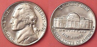 Brilliant Uncirculated 1961D US Jefferson 5 Cents From Mint's Roll