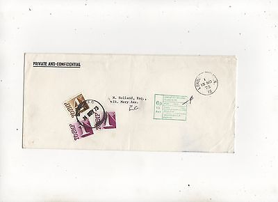 6p To Pay Mark + Stamps On Cover 1973 Spicer & Pegler 395b