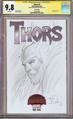 THORS #1 VARIANT CGC 9.8 SS Signed & Thor Sketch by Alan Davis!! (Avengers)
