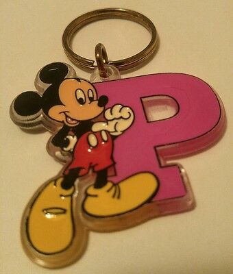 MICKEY MOUSE Pink LETTER P KEYCHAIN Made in USA WALT DISNEY COMPANY