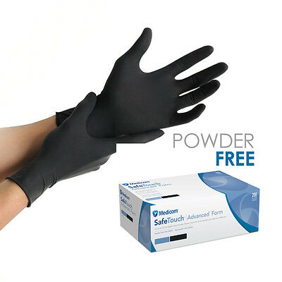 SAFE TOUCH BLACK LATEX/POWDER FREE Gloves Nitrile Tattoo Hairdressing Healthcare