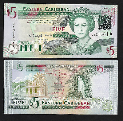 Eastern Caribbean 5 Dollars (2003) Antigua P42a Queen banknote - UNC