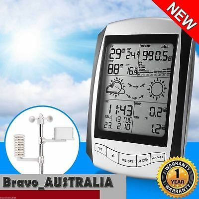 Wireless Weather Station Digital Forecast w/ Rain & Temperature Gauge Wind Speed