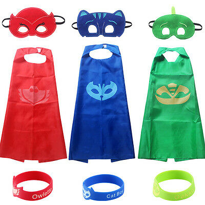 9 Pcs PJ Masks Dress Childrens Kids Superhero Costume Cape Gekko Catboy Owlette
