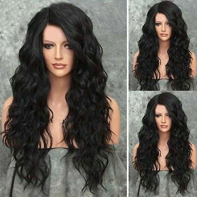 Black Wig Natural Curly Wavy Fancy Dress Cosplay Party Women Ladies Hair Wigs UK