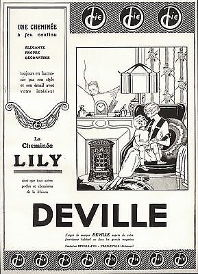 1924 Ad Print Le Chauffage Deville Cheminee Lily Art Deco Style Fireplace