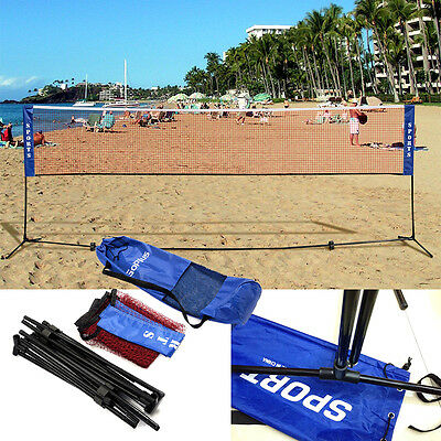 Outdoor Badminton Beach Volleyball Tennis Training Net with Holder Carrying Bag