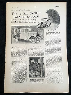 VERY RARE 1931 SWIFT Paladin Saloon 2 Page A4 Vintage B&W Car Advert / Article