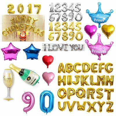 Happy Birthday Number 0-9 Foil Helium Balloons Letter A-Z LOVE Balloon Wedding D