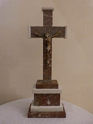 Rare C19th Antique French Two-Tone Marble Crucifix