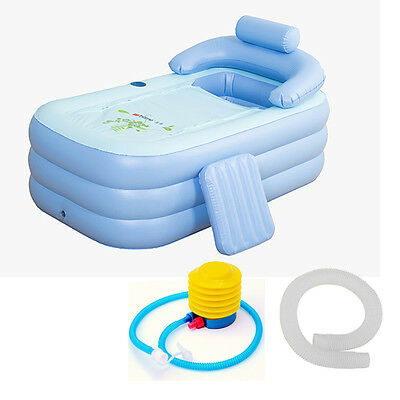 160CM Adult Blowup Folding Warm Inflatable Bathtub With Electric Air Pump Spa