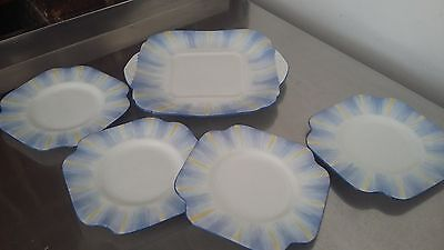 Grafton Blue and Yellow Art Deco Bone China Tea Cake Sandwich Set