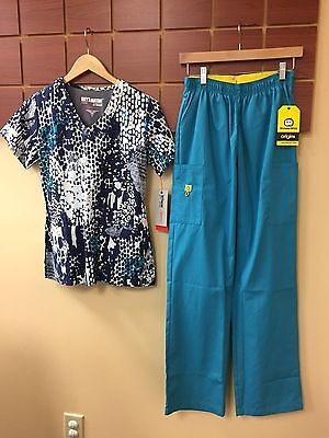 NEW Teal Print Scrubs Set With Grey's Anatomy Small Top & Wink S Tall Pants NWT